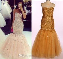 Real Image Prom Dresses Sweetheart Sheer Neck Beading Crystals Mermaid Evening Dresses Long Tulle Zipper Back Quinceanera Pageant Gowns