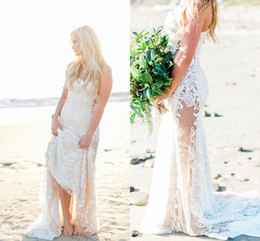 Bohemian 2016 Lace Beach Wedding Dresses Mermaid Sweetheart Illusion Bridal Dresses Sexy Vintage See Through Wedding Gowns