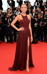 Wholesale 2014 Sexy Gossip Girl Blake Lively In Cannes Red Carpet Celebrity Dresses Chiffon High Split Evening Gowns Formal Prom Party Dresses Cheap
