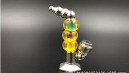Promotion supports métalliques pour le verre Design innovant des idées trois balles peuvent supporter de longs métal bouche à pipe, gros verre bong en verre narguilé accessoires, couleur aléatoire livraison,