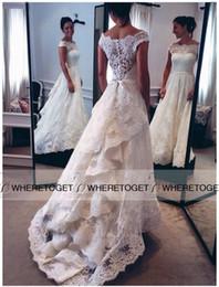 Vintage Lace Wedding Dresses 2019 A Line Bateau Neckline Cap Sleeves Ruffles Lace Wedding Gowns Sweep Train Bridal Gowns