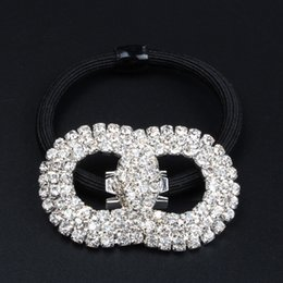 Wholesale 2015 pony tails holder woman and girl cute hair jewelry elegant wedding headdress WHITE Crystal Rhinestones tony tails holder