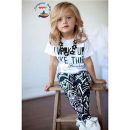 Baby 2015 new letter outfits sets girls letters short sleeve t shirt + geometry printed leggings children summer clothes CY2941