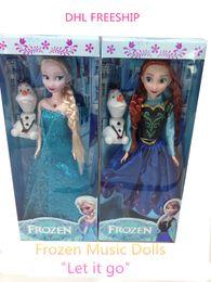 Wholesale DHL freeship Let It Go music doll Girls frozen dolls kids Elsa Anna Olaf barbie dolls children girl barbie pal toys baby gift J102302