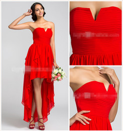 2019 A-line Hi-Lo V-Neck Backlesss Chiffon Ruffles Bridesmaid Dresses Asymmetrical Georgette Red Prom Dresses Cheap Party Gowns