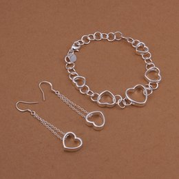 High grade 925 sterling silver Hanging piece hollow bracelet earrings jewelry sets DFMSS427 brand new Factory direct sale wedding 925 silver
