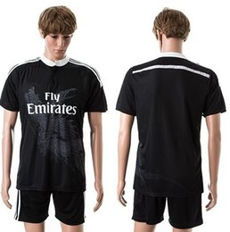 Wholesale Customized Champions League Jersey rd Away Black Madrid Dragon Soccer Jerseys Football Tops With Shorts