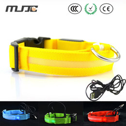 Wholesale MJJC USB charger dog collars Four sizes and Eight Difference colors led pet collar necklace with USB cable by Fedex