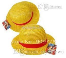 10pcs gros-gros / lot Livraison Canotier Chapeau de paille Anime Cartoon Cosplay Hat Luffy Chapeau gratuit à partir de gros canotier fournisseurs