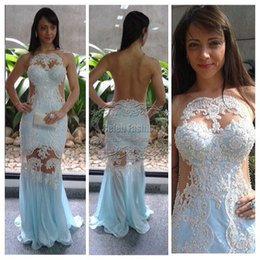 Wholesale Vestido Renda Advanced Pearls Beading Lace Appliques Bodice Sexy Sheer Back Long Mermaid Prom Evening Dress New Dress