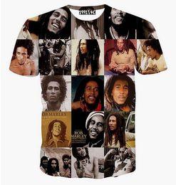 Descuento de manga corta cuello en v 2015 nuevas mujeres / hombres del estilo del verano del harajuku Bob Marley imprimen las camisas de la tapa de la manga del cortocircuito del emoji de la camiseta de la manera del hip-