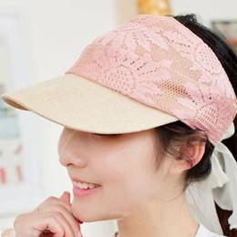 Wholesale-New Brand Colorful Women Lace Adjustable Sun Visor Tennis Golf Summer Sports Plain Caps