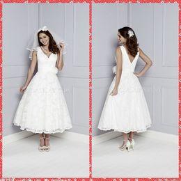 Wholesale 2016 V Neck Russia Designers A Line Lace Wedding Dresses Tea Length Short Handmade Flowers Adorned Waist Bridal Wedding Gowns Custom Online