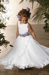 little girls pageant Dress white tulle Rbbion Draped Crew back Zipper pageant Gown for litter Gilr Kids Flower Girls Dress