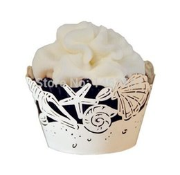 48pcs Laser Cut Elegant White Sea Shell Cupcake Wrappers, Starfish Cupcake Liners,Beach Wedding Birthday Tea Party Decoration