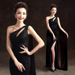 Black One Shouler Mermaid Formal Evening Dresses with Keyhole Ankle Length Long Beaded Prom Gowns Sequined Special Occasion Dress with Split