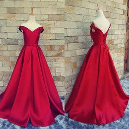 Simple Red Prom Dresses Off Shoulder A line Ruched Satin Custom Made Backless Corset Evening Gowns Formal Dresses Real Image