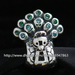 S925 Sterling Silver Peacock Charm Bead with Green and Blue Cz Fits European Pandora Jewelry Bracelets Necklaces & Pendant