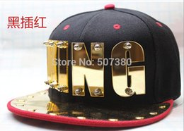 Wholesale-Acrylic Letter king Hammered Snapback Cap Gold Plate Unisex Hiphop Hats Men Adjustable Ball Hats Multiple Color Headwear