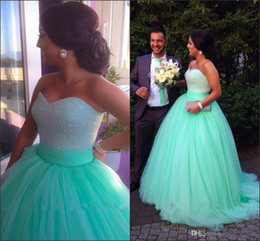 Mint Green Sweet 15 Ball Gown Quinceanera Dresses 2016 Sweetheart Long Sequins Beaded Bodice Corset Junior Party Prom Dresses Pageant Dress