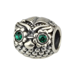 Wholesale Beads Hunter Jewelry Authentic Sterling Silver Omniscient Owl Charm fashion jewel big hole bead For mm European Bracelet snake chain