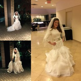Modest High Neck Wedding Dresses with Long Sleeves French Lace Wave Organza Mermaid Bridal Gowns 2015 Vestidos de Novia