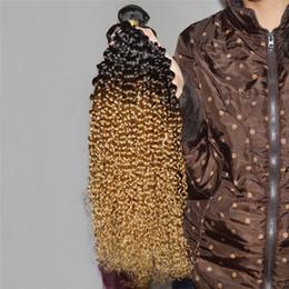 """27 bouclés ombre à vendre-Vente en gros de deux tonalité ombre cheveux extension profonde jerry frisée 1b # 27 8pcs lot 100g 10 """"-26"""" Blonde Ombre cheveux brés 3,4,5pcs / lot"""