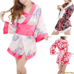 Wholesale-1pc Women Satin Sexy Kimono YUKATA Bath Robe Sleepwear Lingerie Nighties Dress Gown