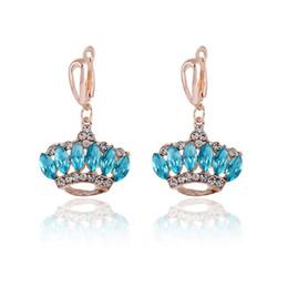 Earrings for Women Gold Plated Trendy Rhinestone Crown Shaped Luxury Sapphire Stud Earrings Romantic Austrian Crystal Element Jewelry