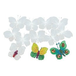 Wholesale 12PCS Paint unfinished silk butterfly ornaments Home decoration Spring crafts Art fun Color learning cm Freeshipping