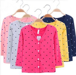 Girl Boy cardigan baby new spring V-neck thin basic dot dog children's clothing kids sun protection jackets & coats outwear