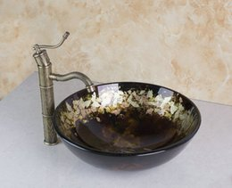 Wholesale 400396006 Hand Painted Glassic Glass Round Bathroom Art Washbasin Tempered Glass Vessel Sink With Antique Brass Faucet Set
