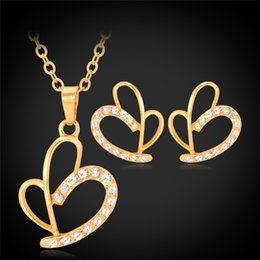 New Hearts Pendant Choker Necklace Earrings Jewelry Sets Rhinestone High Quality 18K Gold Plated Stud Earrings For Women