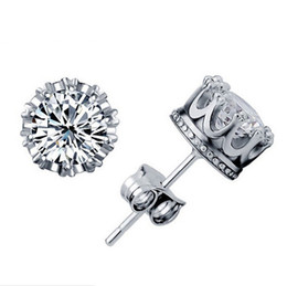 1CT Austrian Crystal Stud Earrings 925 Sterling Silver Plating 30% White GOLD Crown Wedding Stud Earring Engagement Elements Jewelry