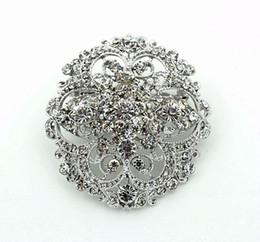 2015 Newest Top Quality Vintage Style Rhinestone Crystal Diamante Round Flower Brooch Wedding Invitation Brooch Pins