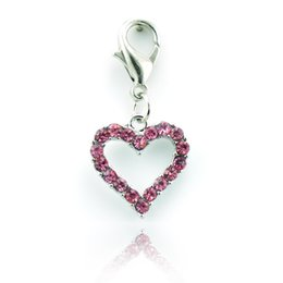 Wholesale Valentines Gift Latest Delicate Zinc Alloy Rhinestone Peach Heart Lobster Clasp Keyring Key DIY Charms Jewelry