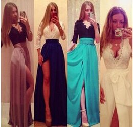 Wholesale 2015 New Summer Women Sexy Lady Lace Dress Evening Chiffon Prom V neck Split Party Dresses Formal Gown Bandage Casual Maxi Long Dress