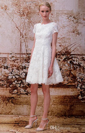 Wholesale Sweet Lace Embroidery Knee Length Jewel Short Sleeve Wedding Dress For Weddings Customized in All Sizes And Colors