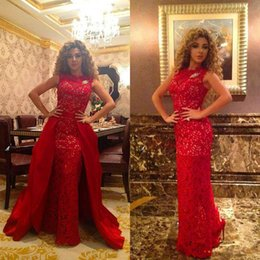 Gorgeous Myriam Fares Dress Sheath Column Lace Sleeveless Floor Length Evening Dresses Formal Prom Gowns Detachable Ruffled Skirt Red