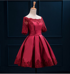 Mini Burgundy Short Cocktail Dresses Off Shoulder Half Sleeve With Lace Applique Ruched Satin 2020 Homecoming Dresses For Party Gowns