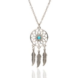 Wholesale Summer beach retro style women chain jewelry hollow round alloy charm with Turquoise accessory ancient silver wings necklace