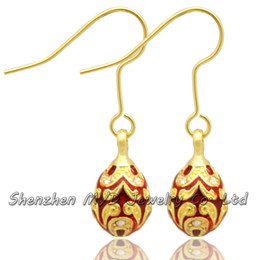 Ladies Fashion Easter Egg Faberge Egg Earring Charm Silver Gold Plating Easter Day Dangle Drop Earring