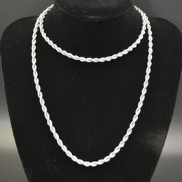 Free Shipping on sale Silver Tone Pure 316L Stainless steel Twist Rope Chain Link Necklace Hotsale Women Men Jewelry 4mm 24''