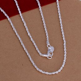 High quality 925 sterling silver twisted rope chain necklace 2MM 16-24inches Top quality fashion jewelry free shipping