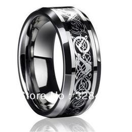 Tungsteno anillos de carburo de dragón en Línea-8m m de par en par El tamaño libre 4-13 de la plata esterlina de la venda de boda de la joyería del Mens del anillo del carburo de tungsteno del dragón del Mens