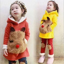 Wholesale Fall Winter Children Clothes Korean Girl Clothing Set Cartoon Bear Head Hoodies Leggings Kids Suit Thicken Add Wool set WD462