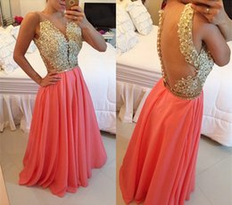 2018 Jewel Neck Appliques Arabic Evening Dresses Coral Crystals Beaded Custom Made A-line Floor-length Chiffon Party Prom Dresses Gowns