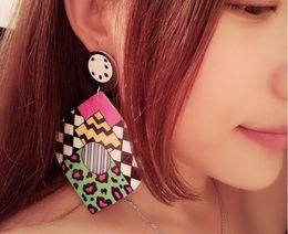 European Popular Fashion Punk Jewelry Long Big Acrylic Earrings Multi color Women Earrings Hip Hop Wholesale