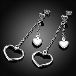Brand new sterling silver plate Straight heart-shaped earrings DFMSE651,women's 925 silver Dangle Chandelier earrings 10 pair a lot factory