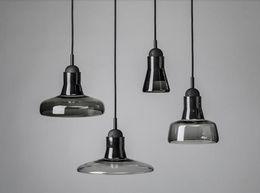 LJP573 Modern brief shadows led crystal glass cord pendant light smoke gray color fashion light for dining room